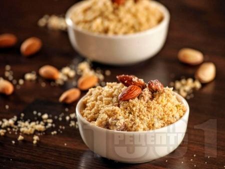 Панджири - варено жито с пудра захар, канела и смлени бадеми - снимка на рецептата